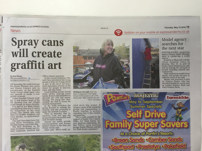 """Spray cans will create graffiti art"", Express & Echo, 12 May 2016, p19."