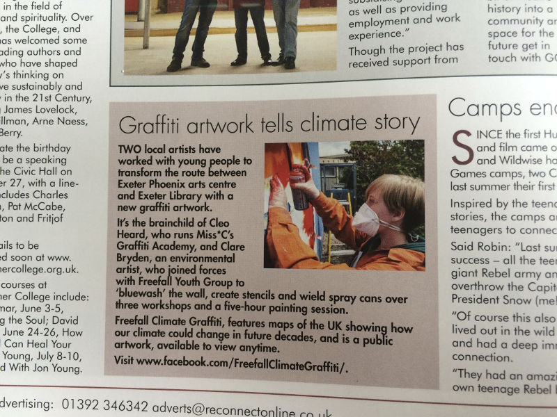 """Graffiti artwork tells climate story"", Reconnect magazine, June/July 2016, Issue 43, p24."