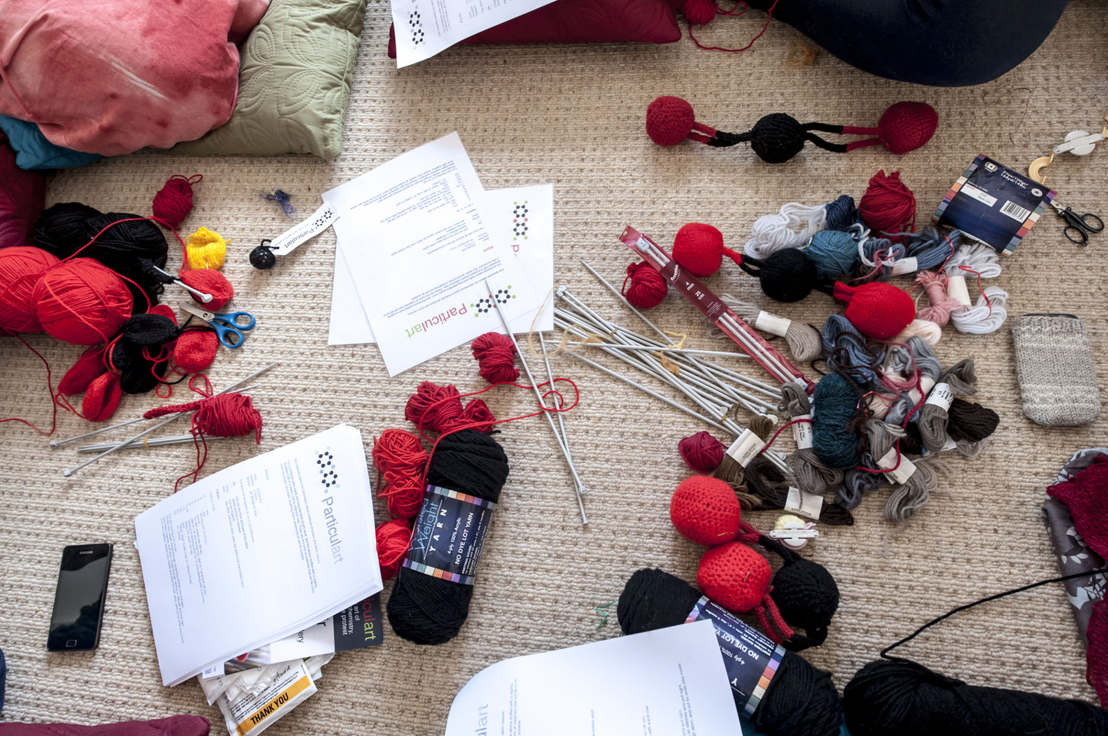 All the yarn and needles you need at the Particulart Knit-Your-Own Carbon Dioxide workshop