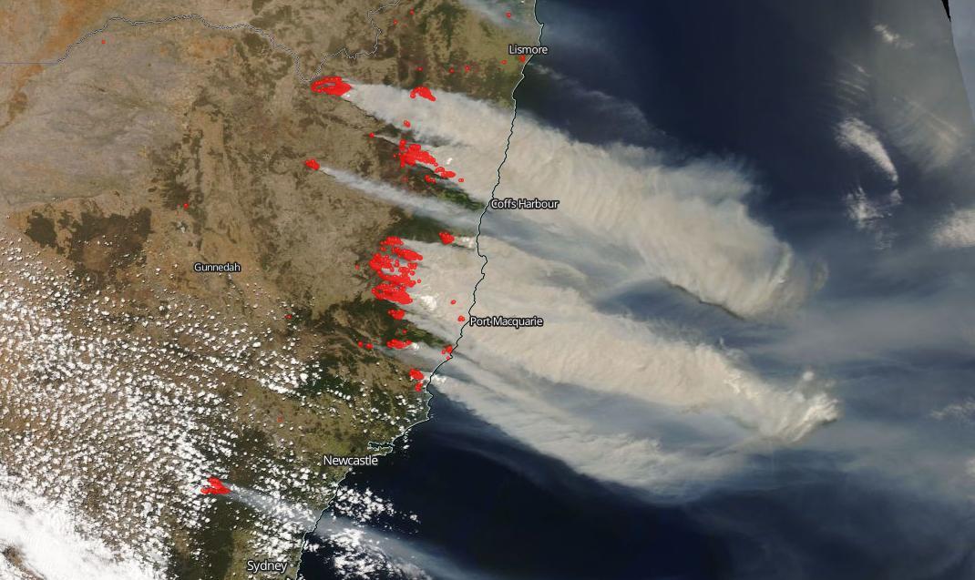Australian bush fires. Image credit NASA