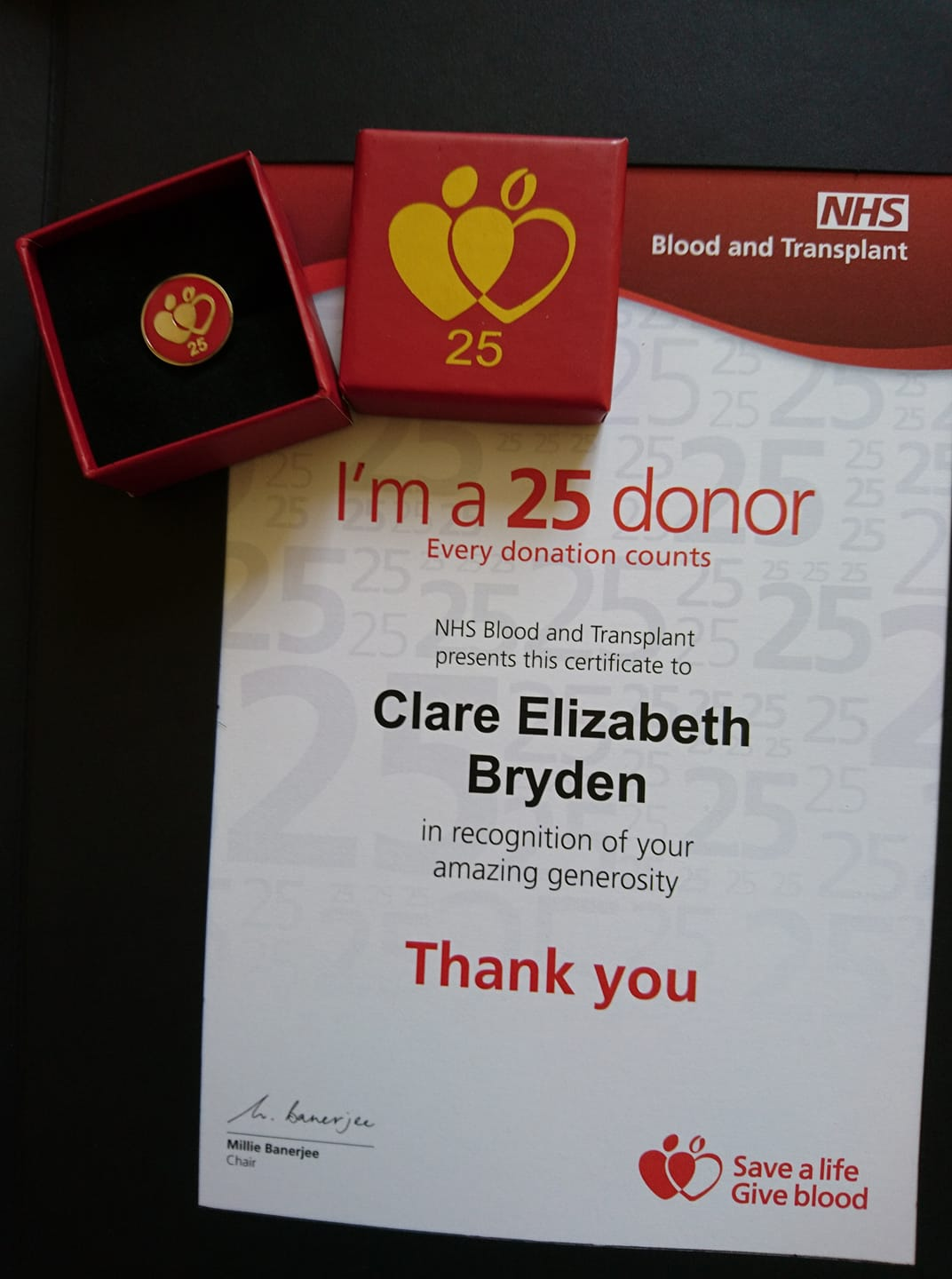 Marking my 25th blood donation