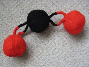 3D knitted representation of carbon dioxide