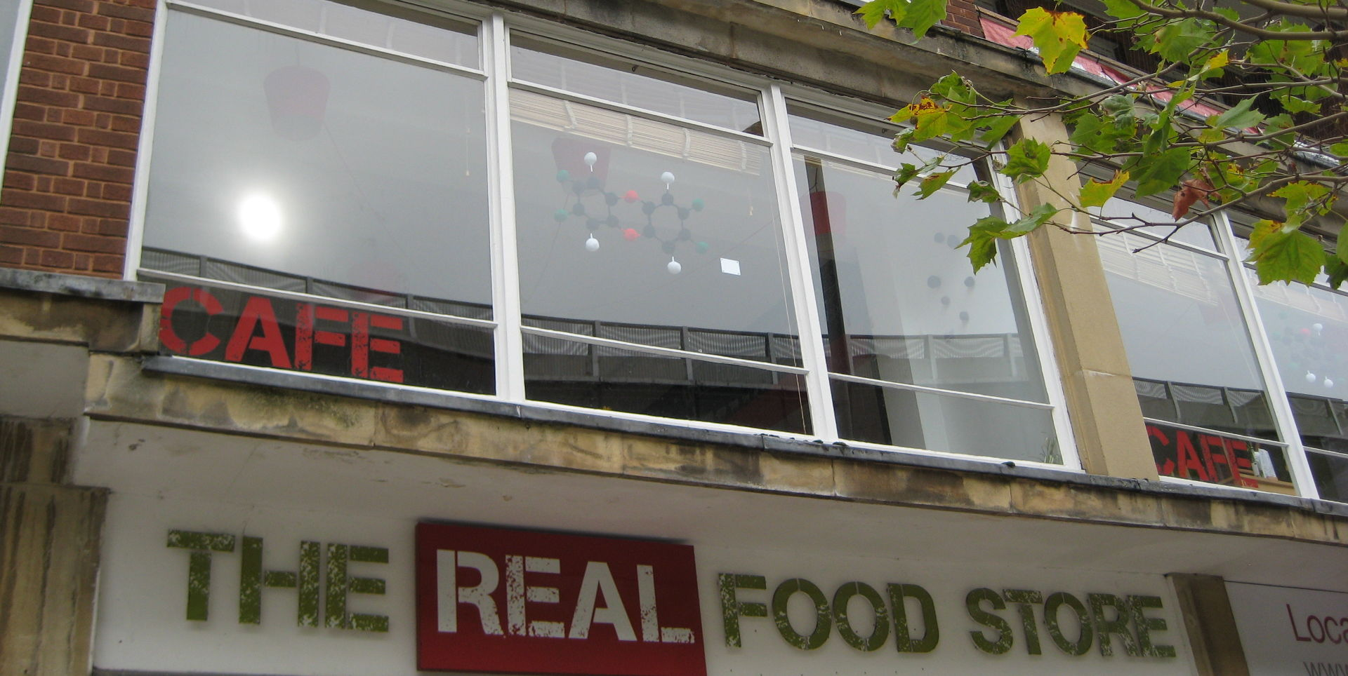 2,3,7,8-Tetrachlorodibenzo-para-dioxin framed in the window of the Real Food Store café