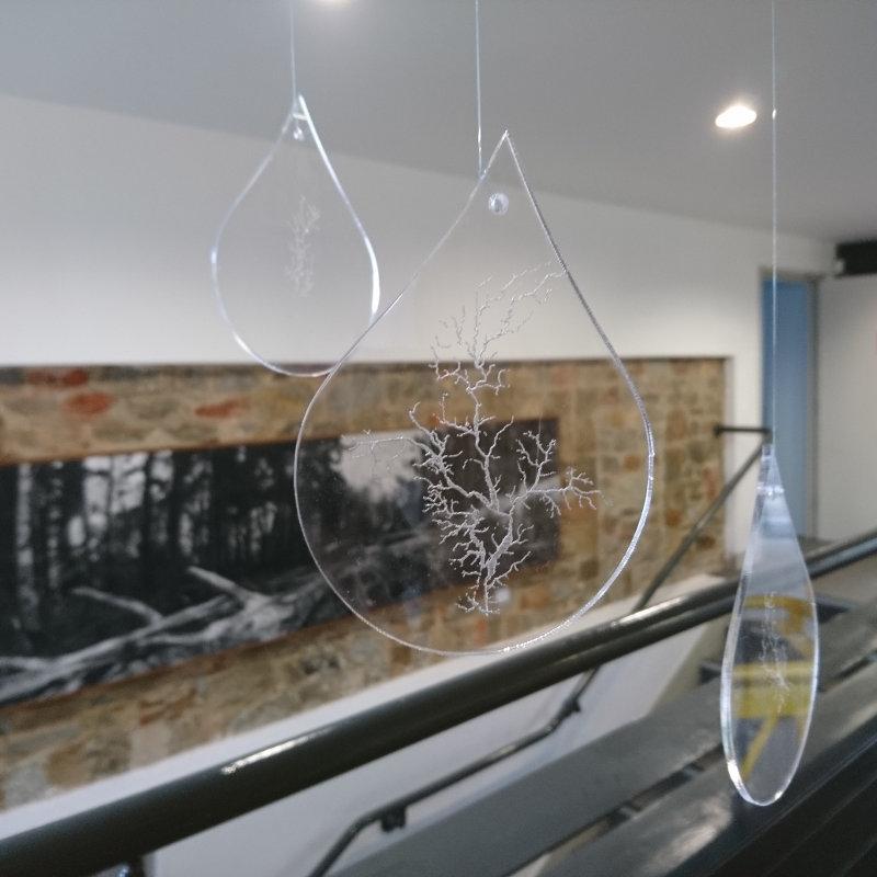 """Drop Slow Tears"" mobile in Dartington Garden Room Gallery, April 2017"