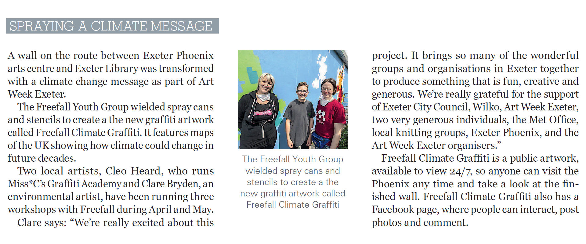 """""""Spraying a climate message"""", Exeter Life, June 2016, p6."""