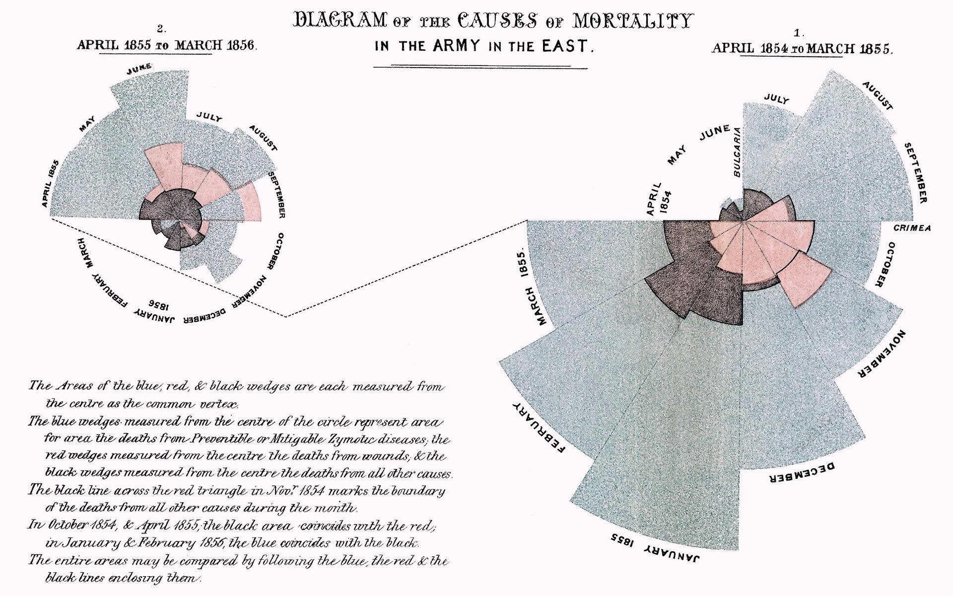 Florence Nightingale: Polar area diagrams of Causes of Mortality