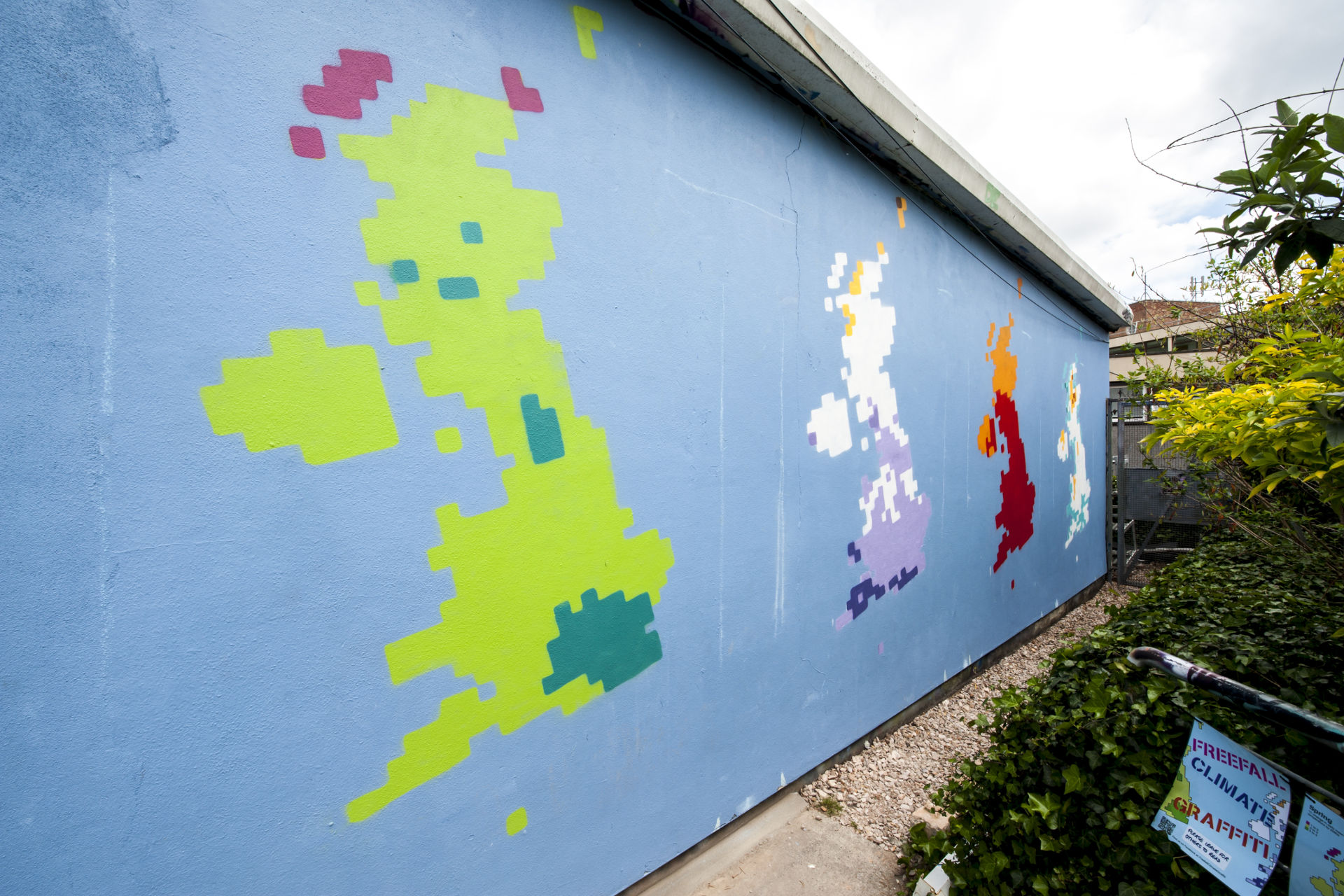 Freefall Climate Graffiti - UK Climate Projections for Spring, Summer, Autumn, Winter. Photo credit: Clive Chilvers.