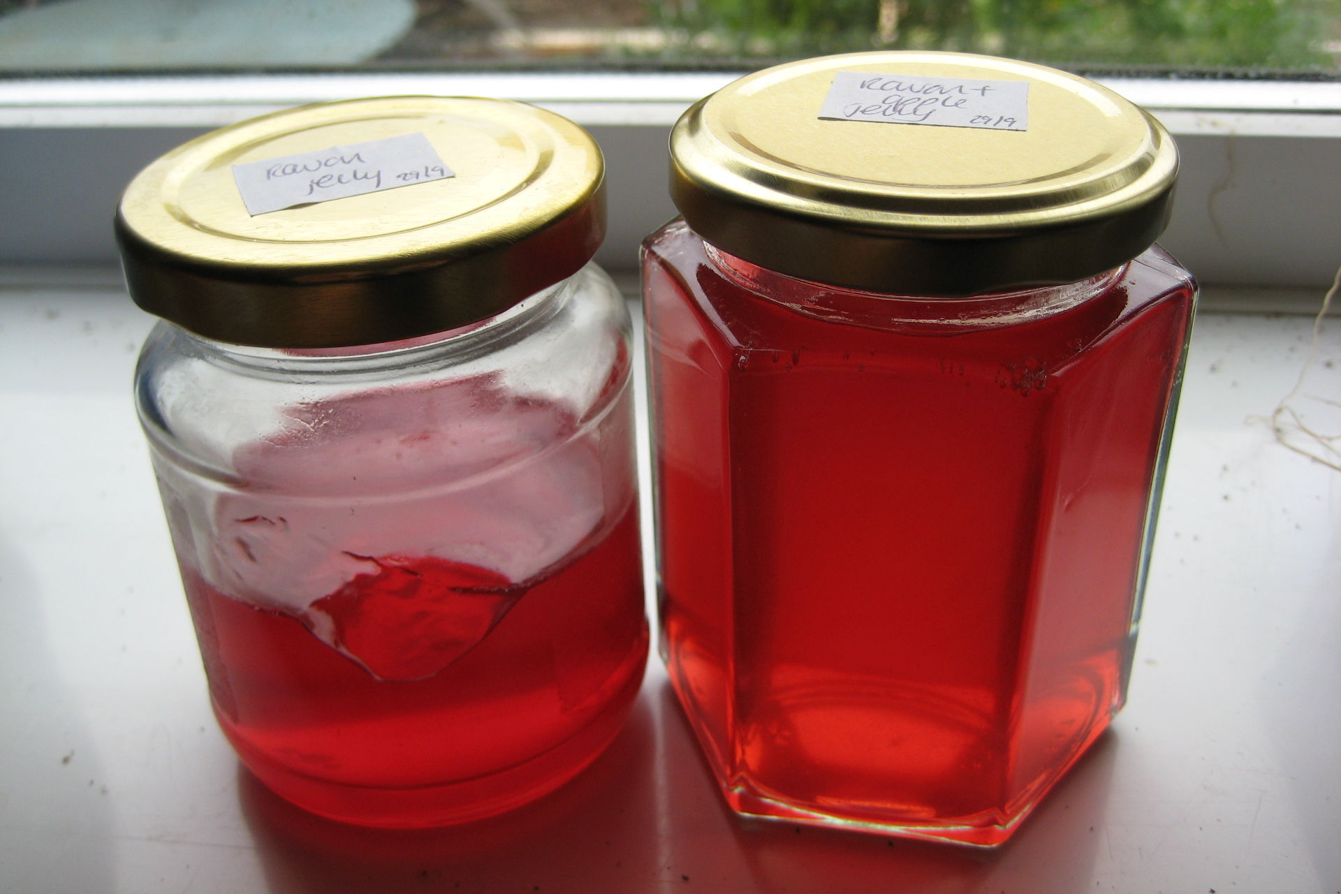 Jars of ruby rowan jelly