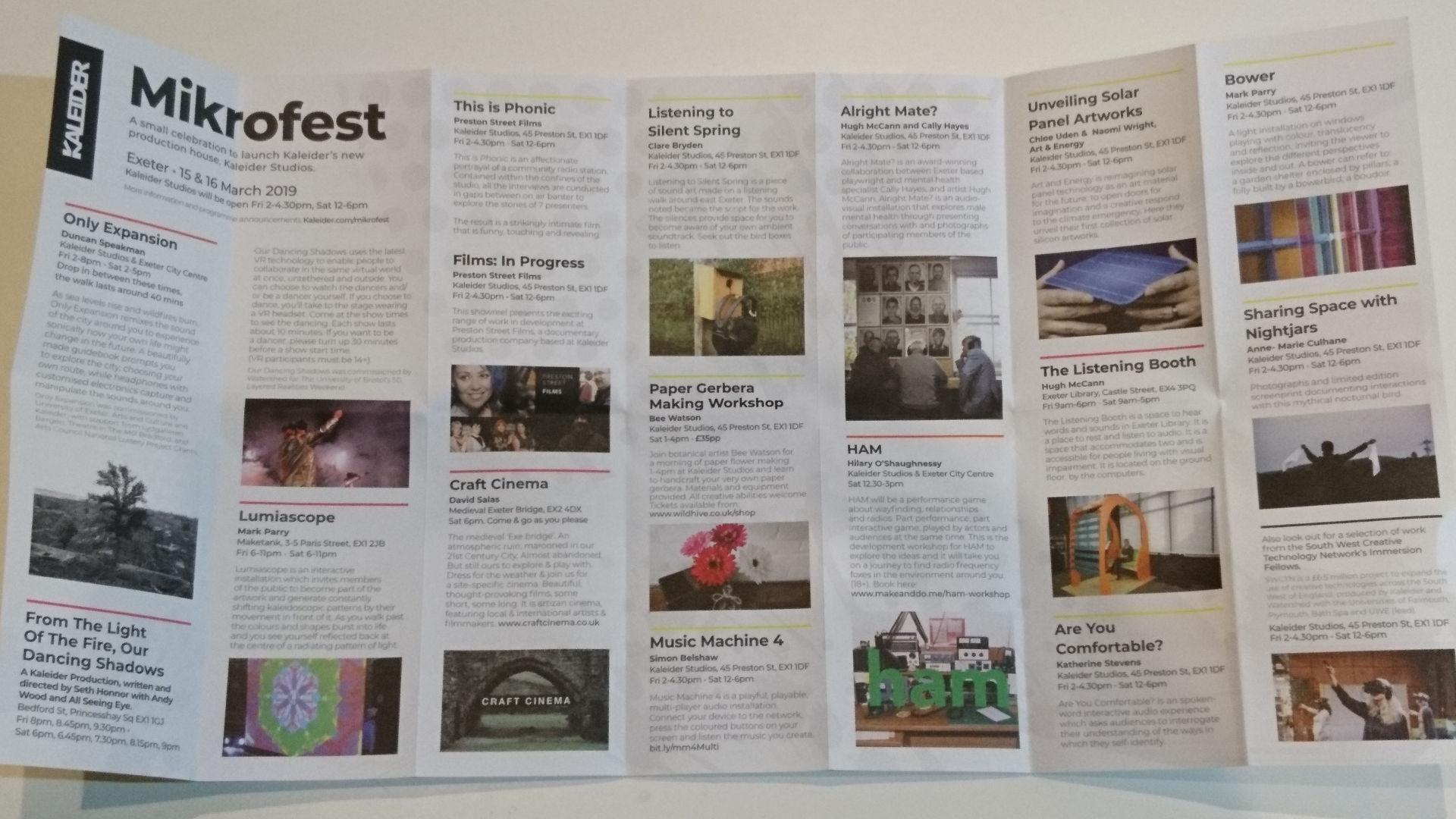 Mikrofest programme - design by Ben Bowen