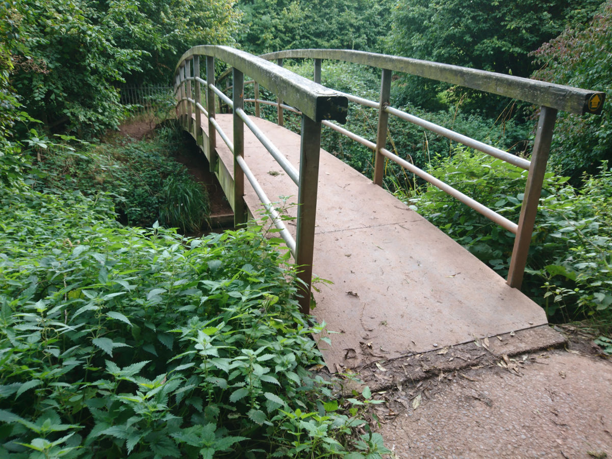 The bridge into Ludwell Valley Park
