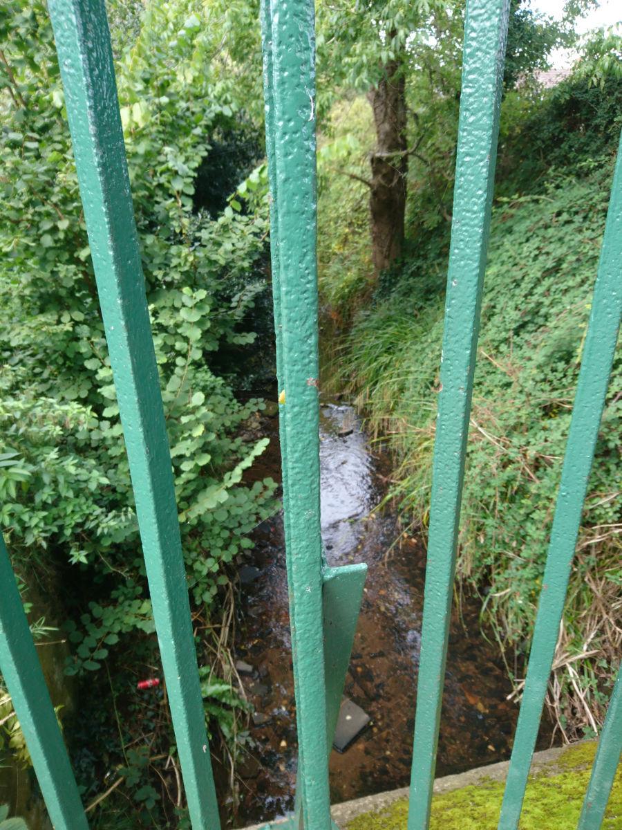 ...then under Whipton Lane, behind bars