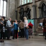"""Private view of """"Green Blue"""" in Exeter Cathedral Chapter House. Photo credit: Sue Holden."""
