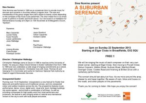 Programme for A Suburban Serenade, cover