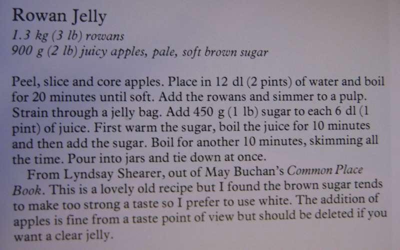 Recipe for rowan jelly
