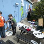 Everyone hard at work on Freefall Climate Graffiti. Photo credit: Clive Chilvers.