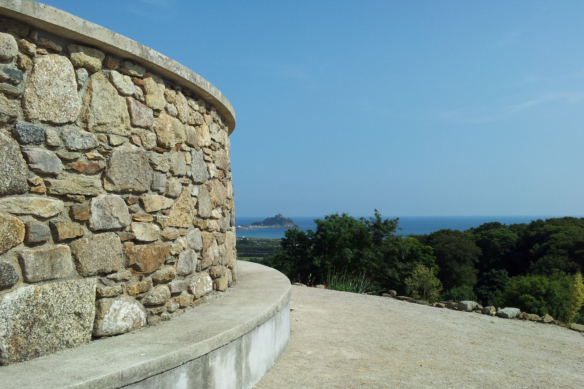 View of St Michael's Mount from the top of James Turrells' Tewlwolow Kernow at Tremenheere Sculpture Parl