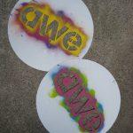 Well-used Art Week Exeter stencils