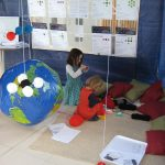 Making carbon dioxide pompoms at the Weather, Art and Music Festival 2016