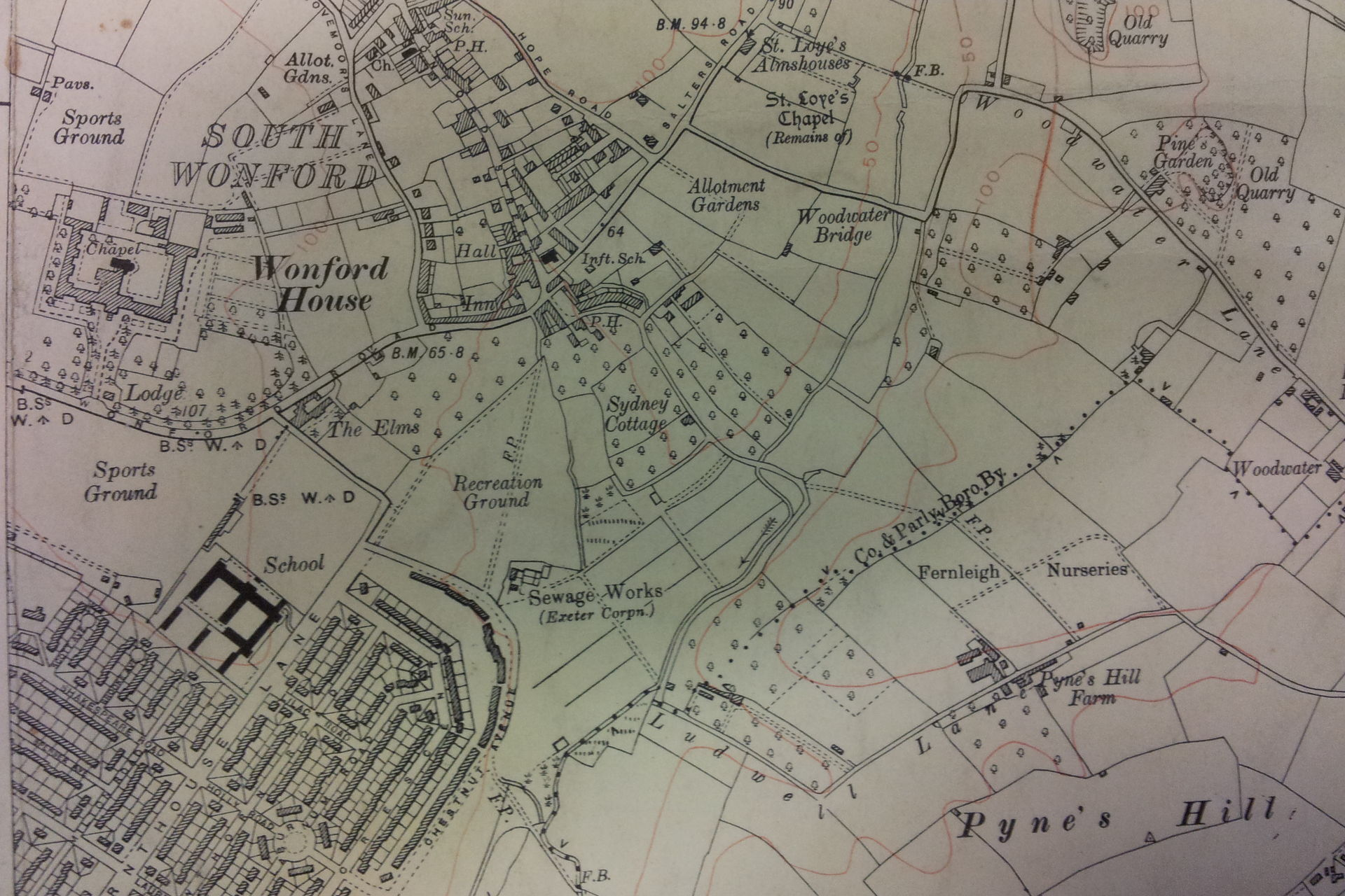 Photo of Wonford St Loyes on 1932 OS map with 1938 revisions