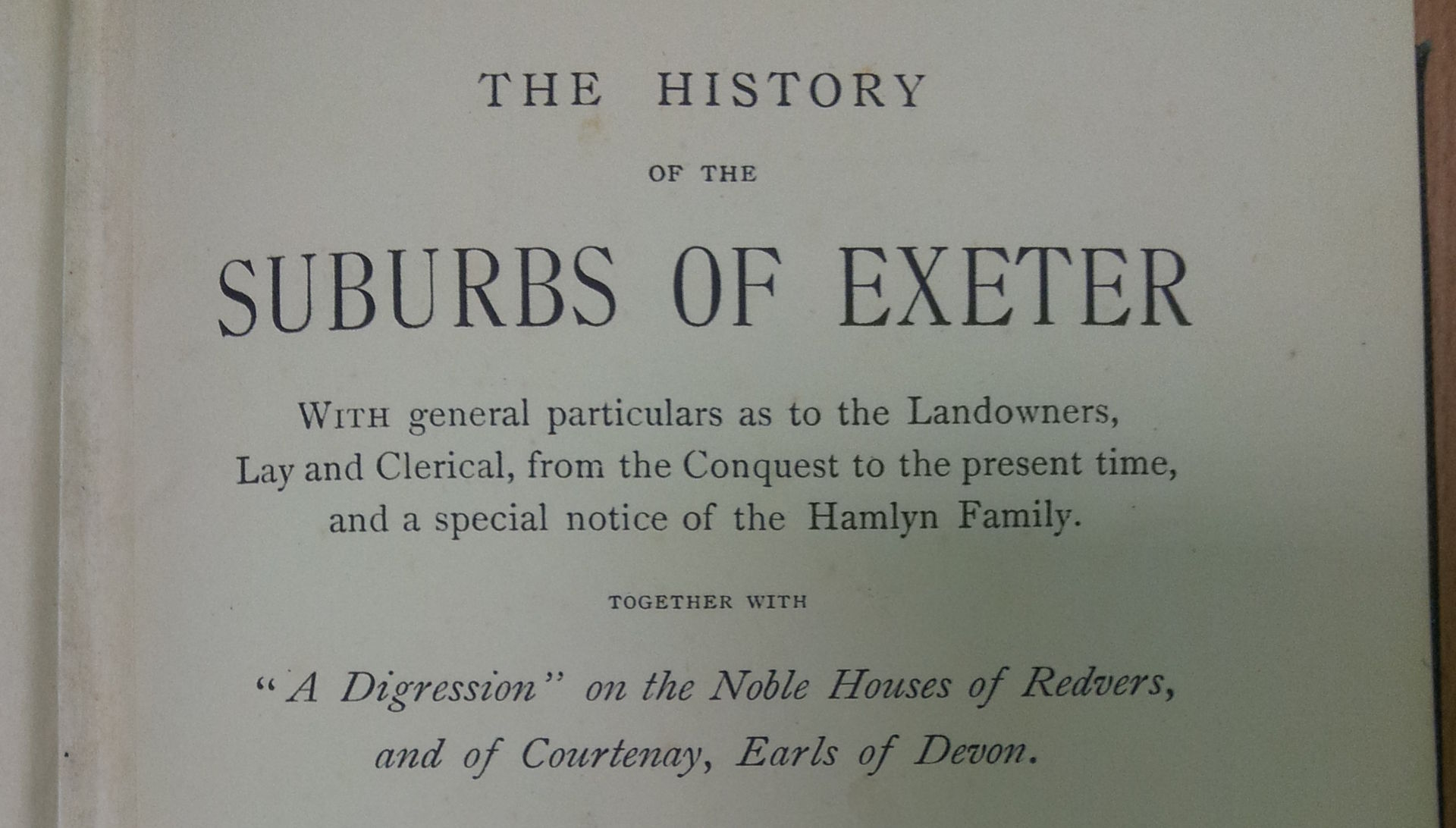 Worthy - The History of the Suburbs of Exeter